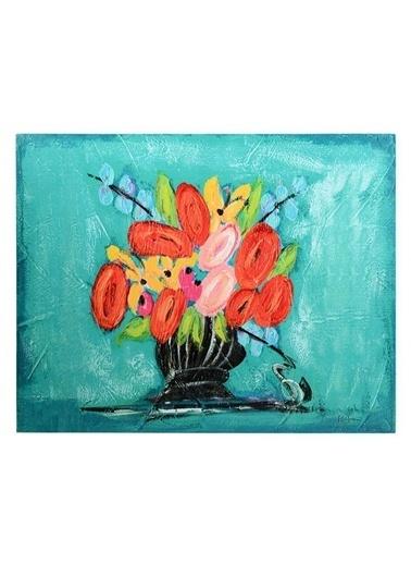 Warm Design Çiçekli Kanvas Duvar Panosu Renkli